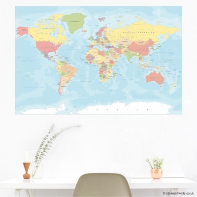Political World Map Wall Sticker