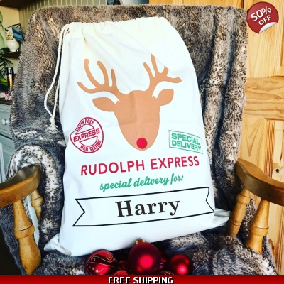 Personalised Christmas Sacks Reindeer Design