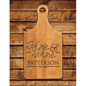 Engraved Mrs & Mrs Cutting Board