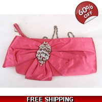 Satin Pink Evening Bag with Diama..