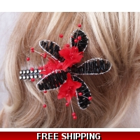 Black & Red Fascinator Crystal Di..