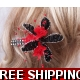 Black & Red Fascinator Crystal Diamonties Stylis..