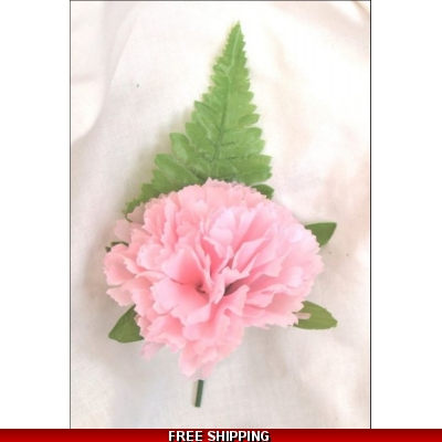 5 x SILK BABY PINK CARNATION BUTTONHOLEs