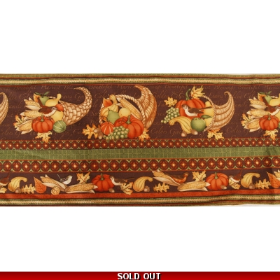 Table Runner Harvest Fruits & Birds brown, gold, red made in the UK