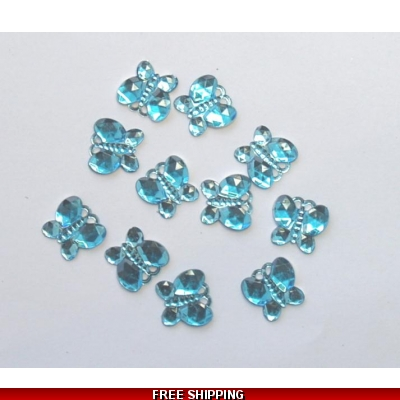 PKT OF 100 MINI SKY BLUE DIAMANTIE DECORATIVE BUTTERFLY'S