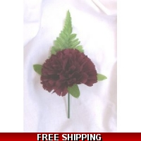 5 x SILK BURGUNDY CARNATION BUTTO..