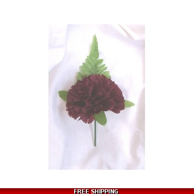 5 x SILK BURGUNDY CARNATION BUTTONHOLE 's, CORSAGE, WEDDING FLOWERS
