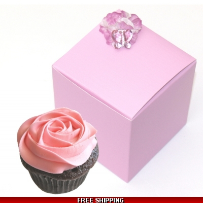 Pkt of 10 Pink and Lilac Decorated Cup Cake Boxes
