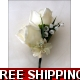 2 off IVORY/CREAM SILK DOUBLE ROSE AND LILLY OF THE VALLY CORSAGE BUTTONHOLE