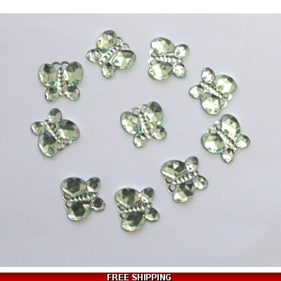 PKT OF 100 MINI GREEN DIAMANTIE DECORATIVE BUTTERFLY'S