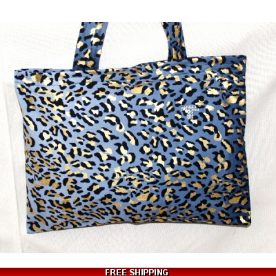 TEMPTATIONS ULTIMATE SHOPPING BEACH BAG BLUE LEOPARD style KALINKA made in the UK