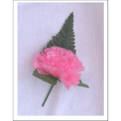 5 OFF PINK CARNATION BUTTON HOLE + LAPEL PIN