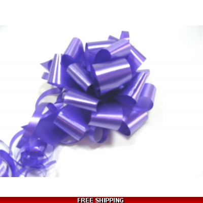 A pack of 4 x PURPLE 30 mm SATIN PULL BOW