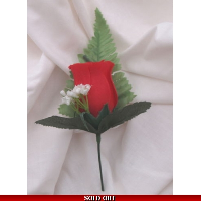 5 off FINE SILK RED ROSE BUTTONHOLES, WEDDING FLOWERS