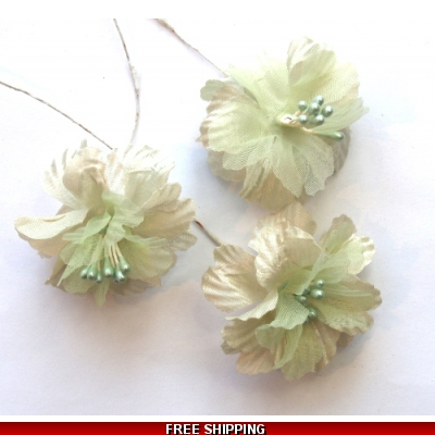 Pkt of 3 MINI PALE GREEN FINE SILK FLOWERS WITH PEARL CLUSTER CENTER