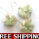 Pkt of 3 MINI PALE GREEN FINE SILK FLOWERS WITH ..