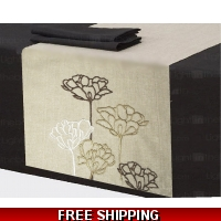 Beige Brown table runner and 6 pl..