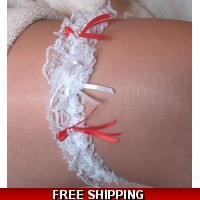 Lace & Red bow Garter weddings pa..
