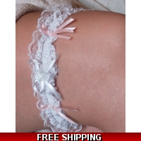 Lace & Pink bow Garter Wedding pa..