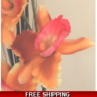 ORANGE PINK LARGE ORCHID FLOWER D..