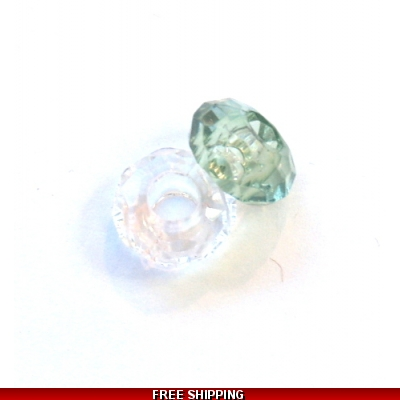 Pkt OF 2 PANDORA STYLE 1 CLEAR AND 1 GREEN  ACRYLIC BEAD