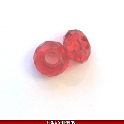 Pkt OF 2 PANDORA STYLE RED ACRYLIC BEAD