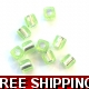 Pkt of 10 FLORESANT LIME GREEN SQUARE BEADS WITH..