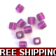 Pkt of 10 FLORESANT PURPLE SQUARE BEADS WITH SIL..