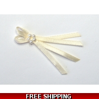 Pkt of 5 CREAM / IVORY TIE BOWS W..