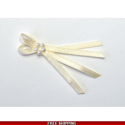 Pkt of 5 CREAM / IVORY TIE BOWS WITH PEARL CLUSTER