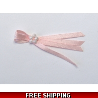 Pkt of 5 BABY PINK TIE BOWS WITH ..