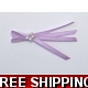 Pkt of 5 LILAC / PURPLE TIE BOWS WITH PEARL CLUS..