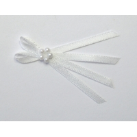 Pkt of 5 PURE WHITE TIE BOWS WITH..