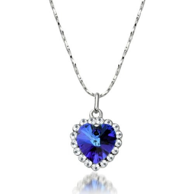 Blue heart of ocean titanic crystal necklace pendant with chain aloadofball Choice Image