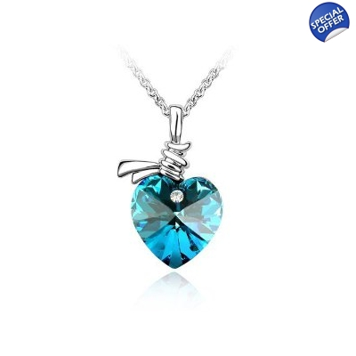 Blue crystal heart pendant necklace aloadofball Gallery