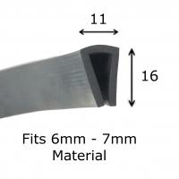 Rubber U Channel Trim 6mm X 3mm Black