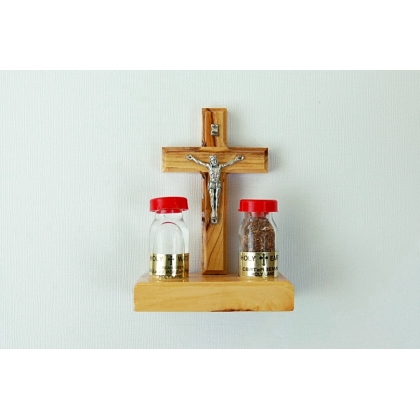 Olive Wood Crucifix with Two Bottles from the Holy Land