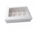 White 12 Hole Cupcake Window Box and Insert Bulk..