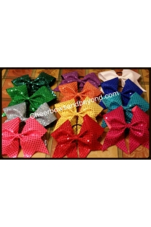 Confetti Sequin Cheer Bows- ..