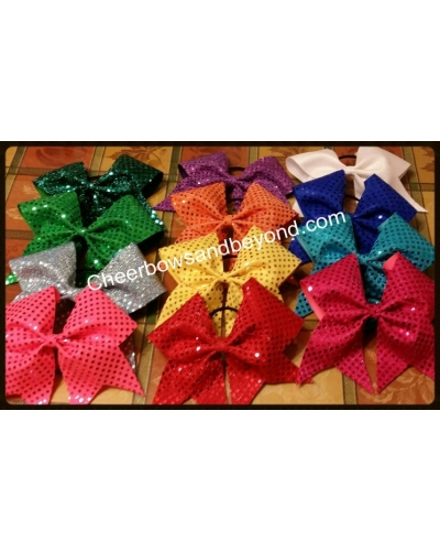 Confetti Sequin Cheer Bows- With Key Chain Option