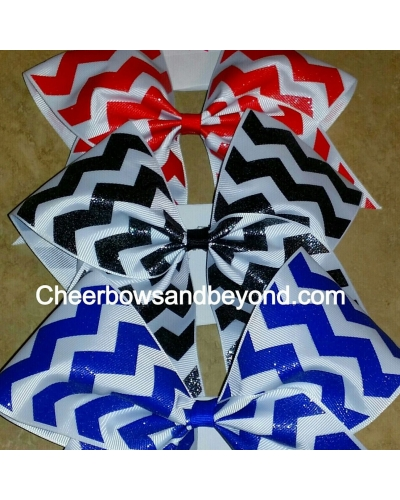 Solid Glitter Chevron Cheer Bow *5 Color Choices*