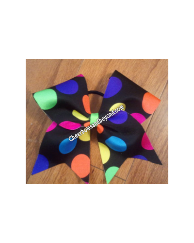 Rainbow Polka Dot Cheer Bow