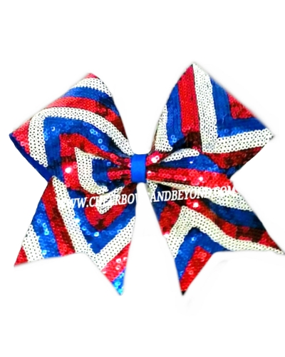Chevron USA Sequin Cheer and Dance Bow