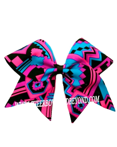 Neon Aztec Cheer Bow*Two sizes Available*