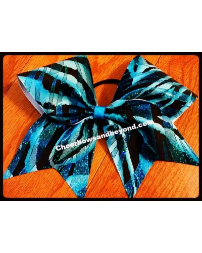 Blue Glitter Spray Zebra Cheer Bow *Key Chain/Hair Clip Option*