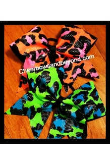 Holographic Leopard Cheer Bows
