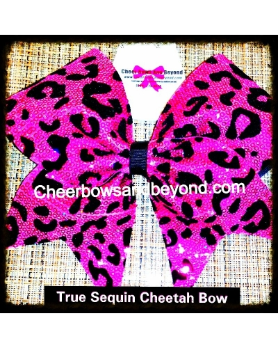 True Sequin Pink Cheetah/Leopard Cheer Bow