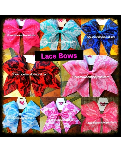 Lace Cheer & Dance Bows *Several Color & Lace Options*