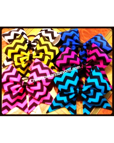 Chevron Cheer Bows Several Colors