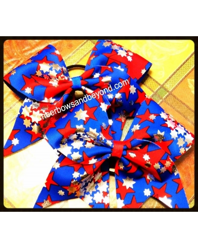 American Holographic Stars Cheer Bow *Option to add Key chain Etc*